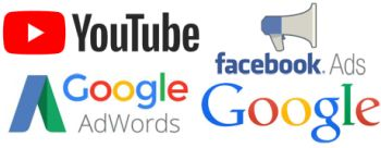 Adwords, Youtube, Facebook Ads, Google